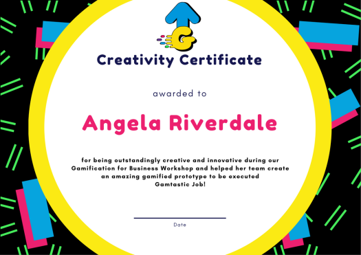 gamup certificate ideas